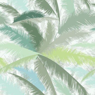 Fototapeta Kwiatowy wzór z liści palmy. Letnia charakter lasów tropikalnych w tle