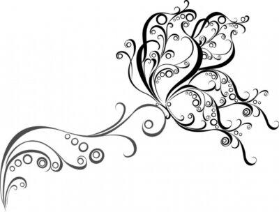 Fototapeta Kwiatowy wzór z motylem