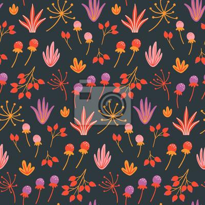 Kwiatowy wzór z ręcznie rysowane dzikich kwiatów, liści i ziół na ciemnym tle. Szablon projektu jesień. Tapeta wektor. Dobry do druku.