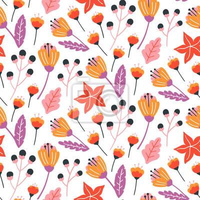 Kwiatowy wzór z ręcznie rysowane dzikich kwiatów, liści i ziół. Szablon projektu jesień. Tapeta wektor. Dobry do druku.
