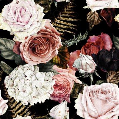 Kwiatowy wzór z róż, akwarela.