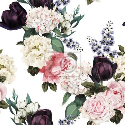 Kwiatowy wzór z róż, akwarela. Ilustracji wektorowych.