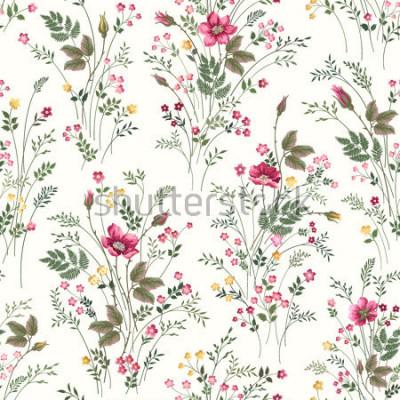 Fototapeta kwiatowy wzór z róż i kwiatów łąka