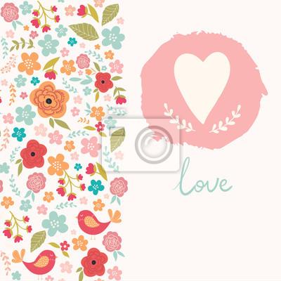 Fototapeta Kwiatu karty z sercem