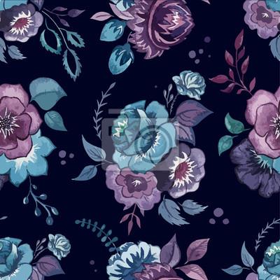 Fototapeta kwiaty, akwarela, wzór, tapety, tekstylne