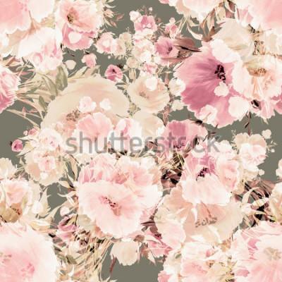 Fototapeta Kwiaty bez szwu akwarela wzór-5. Vintage, efekt retro. Pastelowe tło. Piękne tapety. Piękny nadruk do dekoracji i projektowania rysunków akwarelowych.