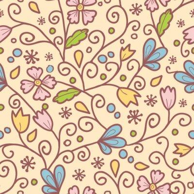Fototapeta Kwiaty i liście wektorowych elegancki wzór bez szwu tła