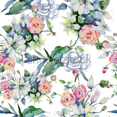 Fototapeta Kwiaty przetargu bukiet. Zintegrowane tło wzór. Tekstura tkanina tapeta. Aquarelle wildflower dla tła, tekstury, wzór opakowania, ramki lub obramowanie.
