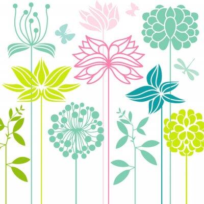 Fototapeta kwiaty zielone, turkusowe kwiatki w eko stylu pełnym motyli