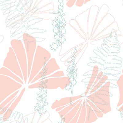 Fototapeta Kwiecisty botaniczny wektorowy bezszwowy wzór z ręka rysującymi agrimony zielarskimi kwiatami i tropikalnymi liśćmi w pastelowych kolorach.