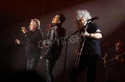 Fototapeta KYIV, UKRAINE - JUNE 30, 2012: Queen with Adam Lambert perform onstage during charity Anti-AIDS concert at the Independence Square on June 30, 2012 in Kyiv, Ukraine