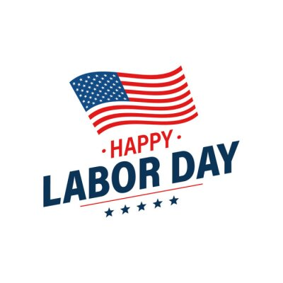 Fototapeta Labor day holiday banner. Happy labor day greeting card. USA flag. United States of America. Work, job. Vector illustration.