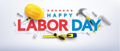 Fototapeta Labor Day poster template.International Workers' Day celebration with Yellow safety hard hat and construction tools.Sale promotion advertising Poster or Banner for Labor Day