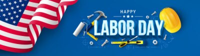Fototapeta Labor Day poster template.USA Labor Day celebration with American flag,Safety hard hat and Construction tools.Sale promotion advertising Poster or Banner for Labor Day