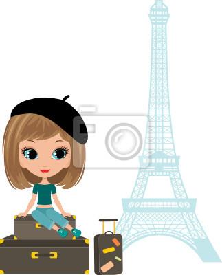 Ładna dziewczyna siedzi na walizkach przed Tour d'Eiffel. wektor