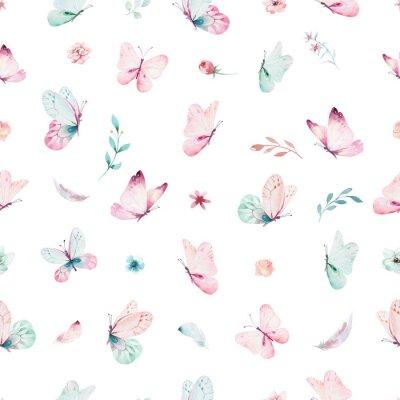 Fototapeta Ładny akwarela jednorożca wzór z kwiatami. Żłobek magiczne wzory jednorożca. Księżniczka tęczy tekstury. Modny różowy koń kucyk kreskówka.