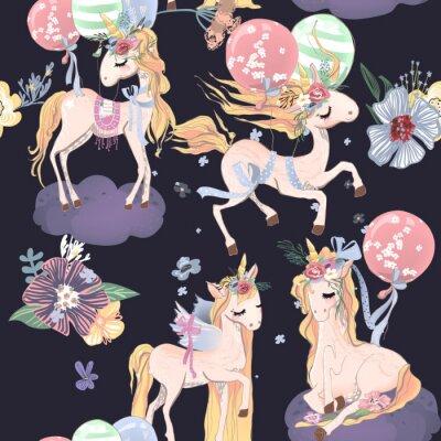 Fototapeta Ładny jednorożce wzór. Wzór dla dzieci z jednorożce, kwiaty, balony i chmury