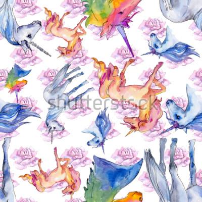 Fototapeta Ładny jednorożec konia. Bajkowe dzieci słodki sen. Tęczowy wzór zwierzęcy róg z tłem. Tekstura tkanina tapeta. Aquarelle dzikie zwierzę dla tła, tekstury, wzór opakowania.