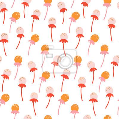 Ładny kwiatowy wzór z ręcznie rysowane kwiaty mniszka lekarskiego. Szablon projektu jesień. Tapeta wektor. Dobry do druku.