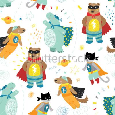 Fototapeta ładny ręcznie dzieci superbohatera wzór z psem, kot, niedźwiedź i hipopotam