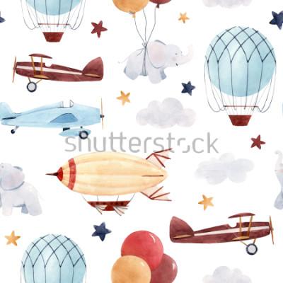 Fototapeta Ładny wzór akwarela dzieci. Tapeta dla chłopca, rozgwieżdżone niebo z aerostatem, sterowiec i samoloty, słonie i balony.