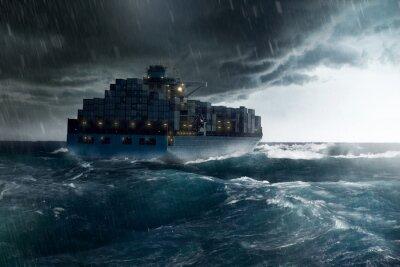 Fototapeta Ładunek statku w czasie burzy