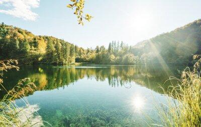lake in atumn forest, Croatia, Plitvice