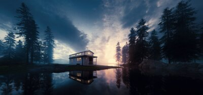 Fototapeta Lake with vintage tiny house in a sunset forest environment. 3d rendering.