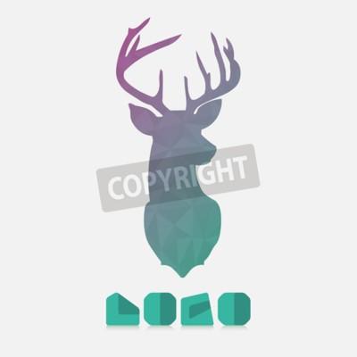 Fototapeta Łamana hipster logo z głową jelenia w kolorze mięty z gradientem