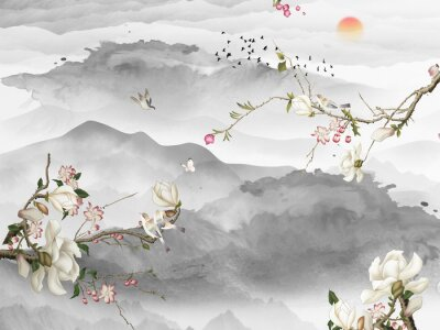 Fototapeta Landscape illustration, gray mountains and hills, sunset, three branches with white and pink flowers, a flock of birds flies away