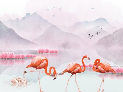Fototapeta Landscape illustration, hills, flock of birds in the air, pink trees, a pair of swans in the lake, three flamingos in the foreground