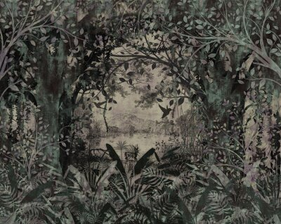 Fototapeta Landscape wallpaper in classic old style