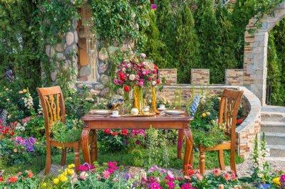 Fototapeta Landscaped backyard flower garden