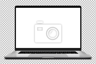 Fototapeta Laptop modern frameless with blank screen isolated on transparent background - super high detailed photorealistic esp 10 vector
