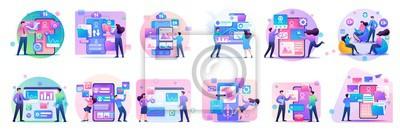 Fototapeta Large set of mini concepts of teenagers work on smartphones, tablets, managing gadgets. Basis for web design and application design