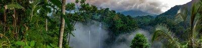 Fototapeta Large waterfalls surrounded by rainorest