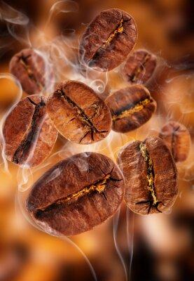 Fototapeta Latające ziaren kawy w dymie