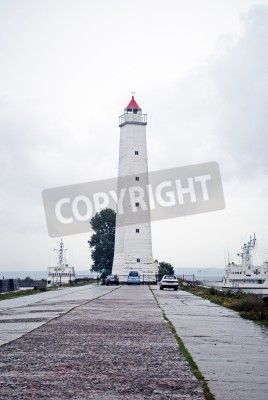 Fototapeta Latarnia morska w Kronsztadzie, Rosji, pochmurny dzień