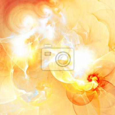 Latem słońce w chmurach. Streszczenie artystyczne tło z mocą oświetlenia. Jasny flash w futurystycznym nieba. Shiny wzór. Fractal grafika