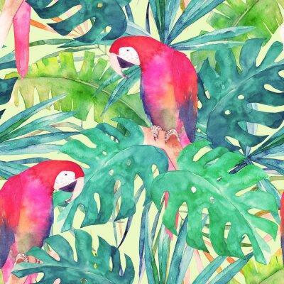 Fototapeta Lato bezszwowe wzór z akwarelą papugą, liści palmowych. Kolorowe ilustracji