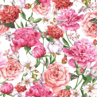 Fototapeta Lato Jednolite wzór akwarela z Różowy Piwonie i róże