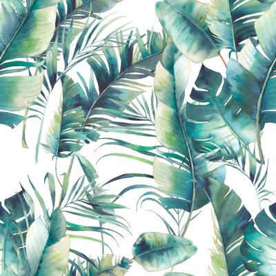Fototapeta Lato palma i bananów pozostawia bez szwu deseń. Tekstury Akwarele z zielonych oddziałów na białym tle. R? Cznie rysowane tropikalnych projektowania tapet ?.