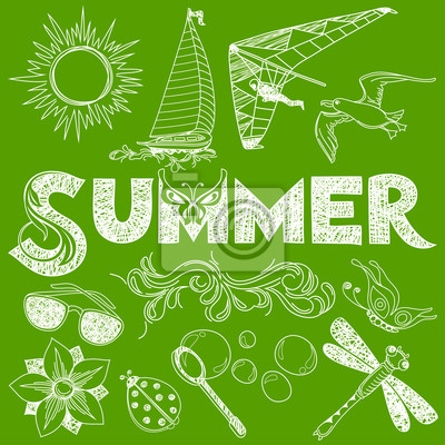 Lato w Spódniczka styl: elementy wektorowe i podpisać