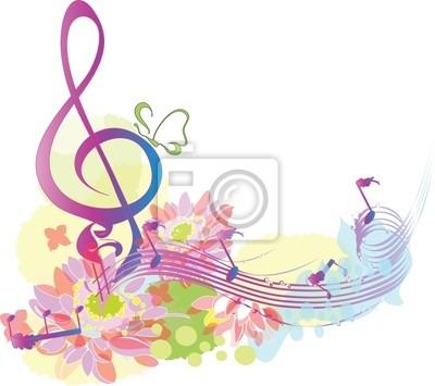 Lato z muzyką dekoracyjne klucz wiolinowy