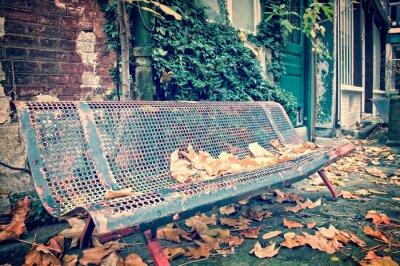 Fototapeta Ławka w ulicy w jesieni, rocznik proces