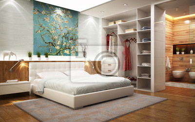 fototapeta azienka w sypialni z garderob na wymiar nowoczesny elegancki pi tro. Black Bedroom Furniture Sets. Home Design Ideas