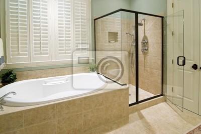 Fototapeta łazienka Z Prysznicem I Wanną Z Hydromasażem Na Wymiar