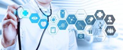 Fototapeta Lekarz z stetoskop w rękach i biurowego tle