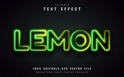 Fototapeta Lemon text effect neon style