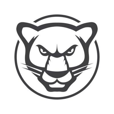Fototapeta Leopard head. Jaguar vector logo or icon illustration mascot. Tiger wild cat minimalistic flat line outline stroke pictogram symbol emblem.
